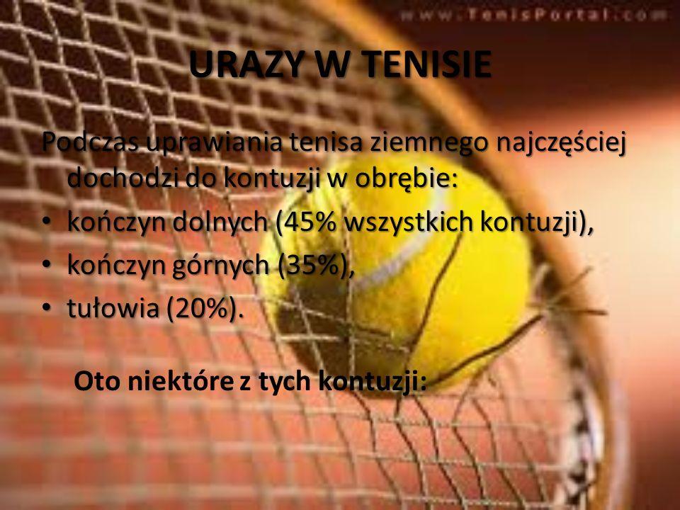 URAZY W TENISIE Podczas uprawiania tenisa ziemnego najczęściej dochodzi do kontuzji w obrębie: kończyn dolnych (45% wszystkich kontuzji),
