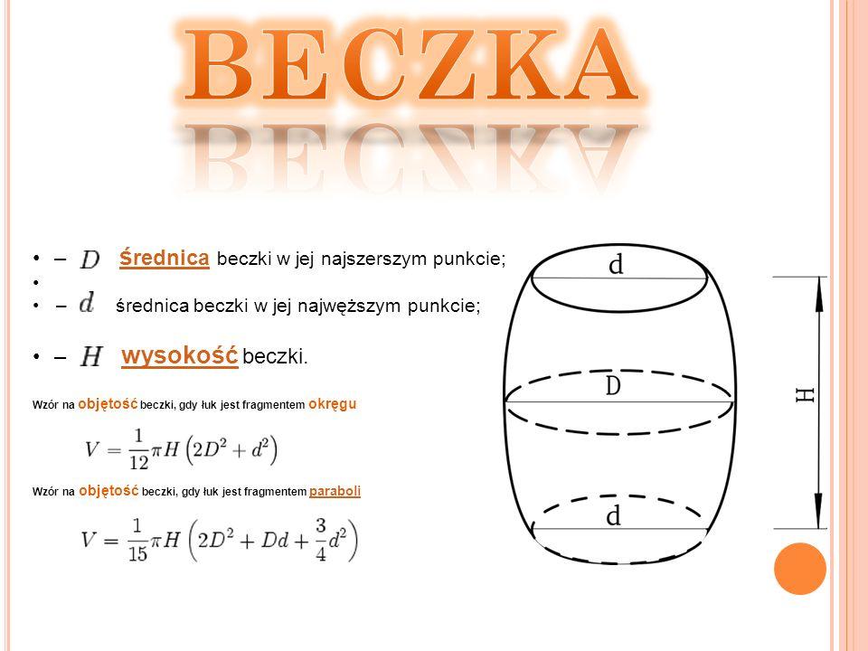 BECZKA – średnica beczki w jej najszerszym punkcie; – wysokość beczki.