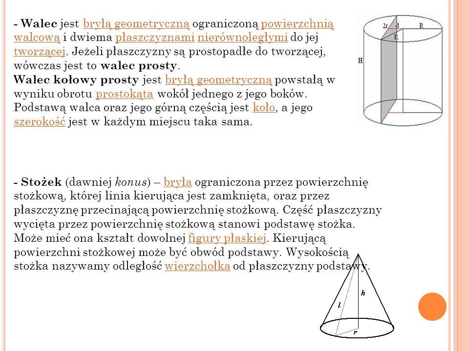 - Walec jest bryłą geometryczną ograniczoną powierzchnią walcową i dwiema płaszczyznami nierównoległymi do jej tworzącej. Jeżeli płaszczyzny są prostopadłe do tworzącej, wówczas jest to walec prosty.