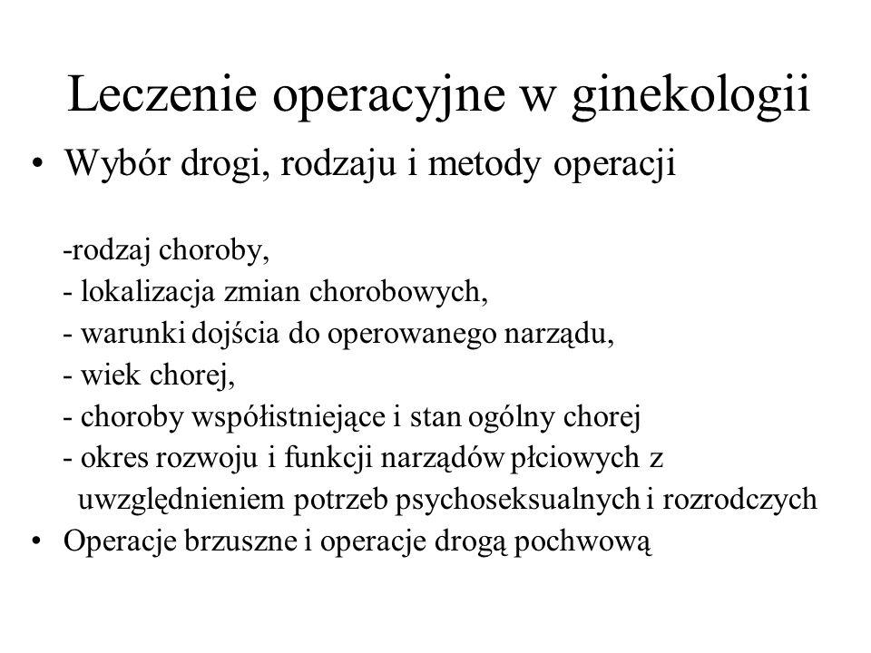 Leczenie operacyjne w ginekologii