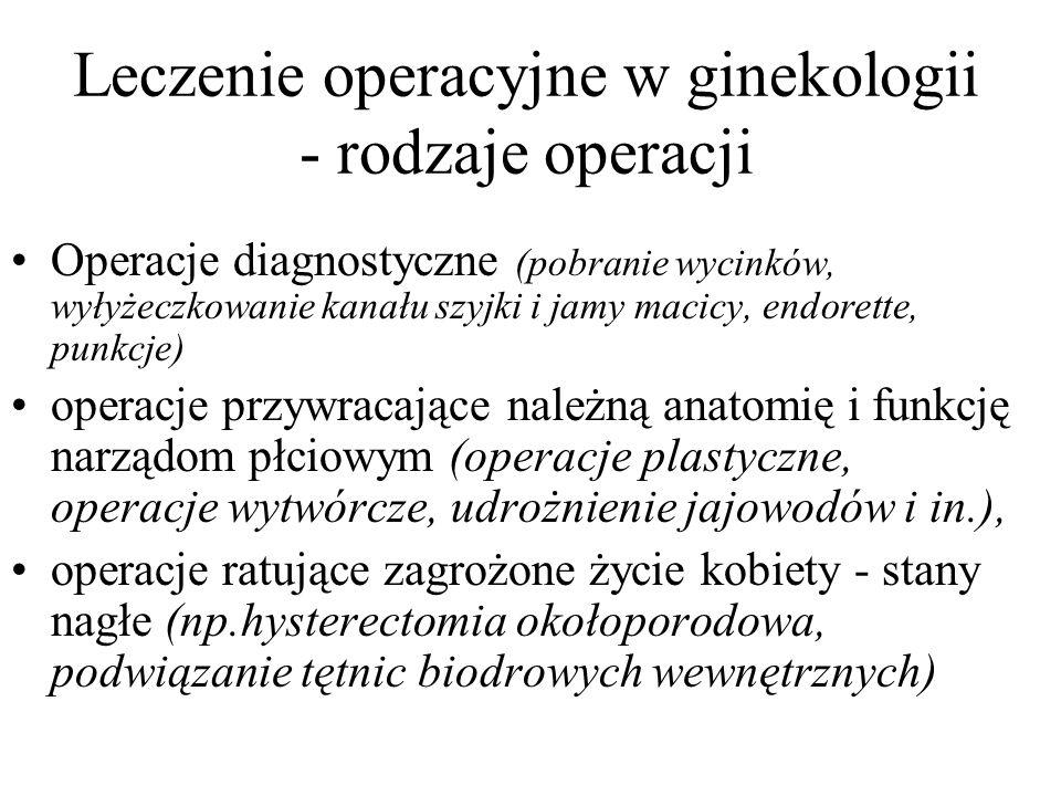 Leczenie operacyjne w ginekologii - rodzaje operacji