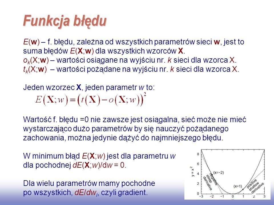 EE141 Funkcja błędu. E(w) – f. błędu, zależna od wszystkich parametrów sieci w, jest to suma błędów E(X;w) dla wszystkich wzorców X.