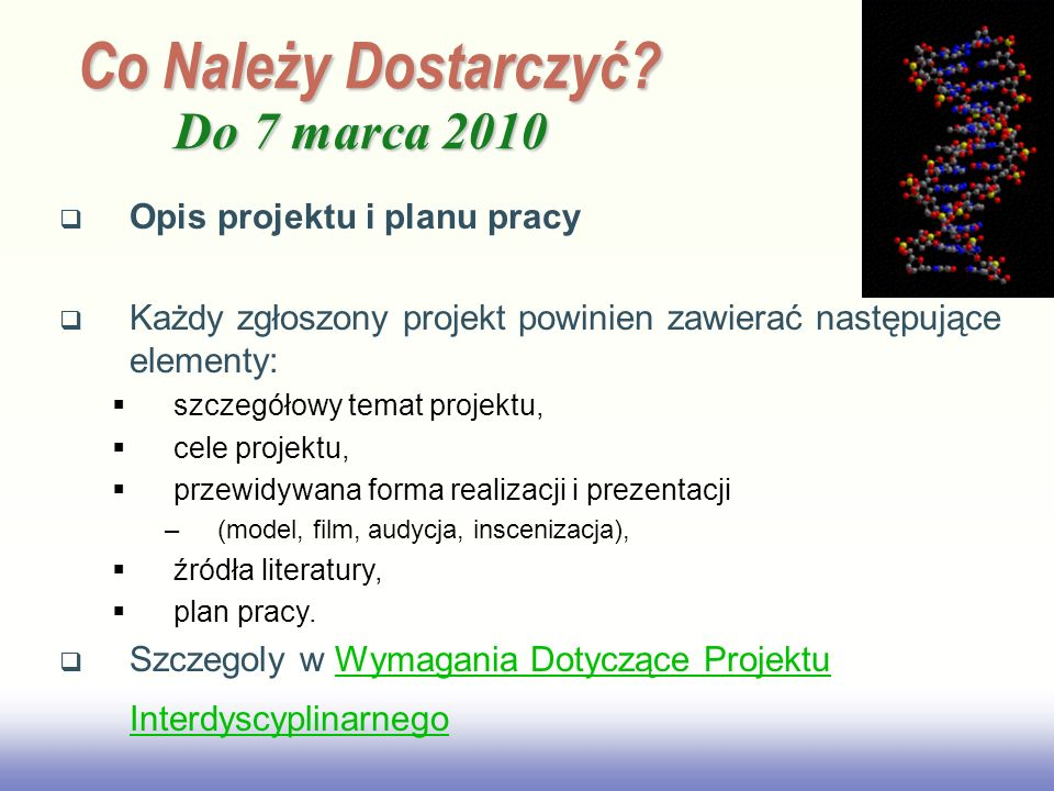 Co Należy Dostarczyć Do 7 marca 2010