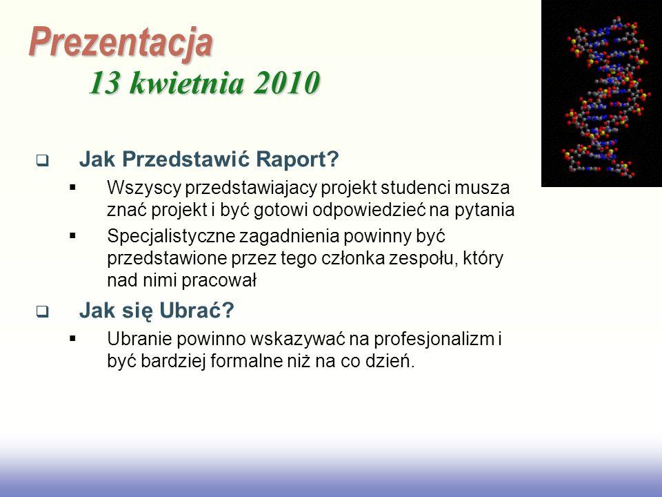 Prezentacja 13 kwietnia 2010 Jak Przedstawić Raport Jak się Ubrać