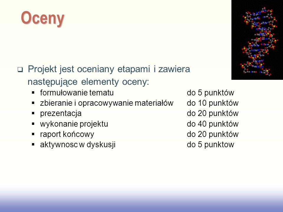 Oceny Projekt jest oceniany etapami i zawiera