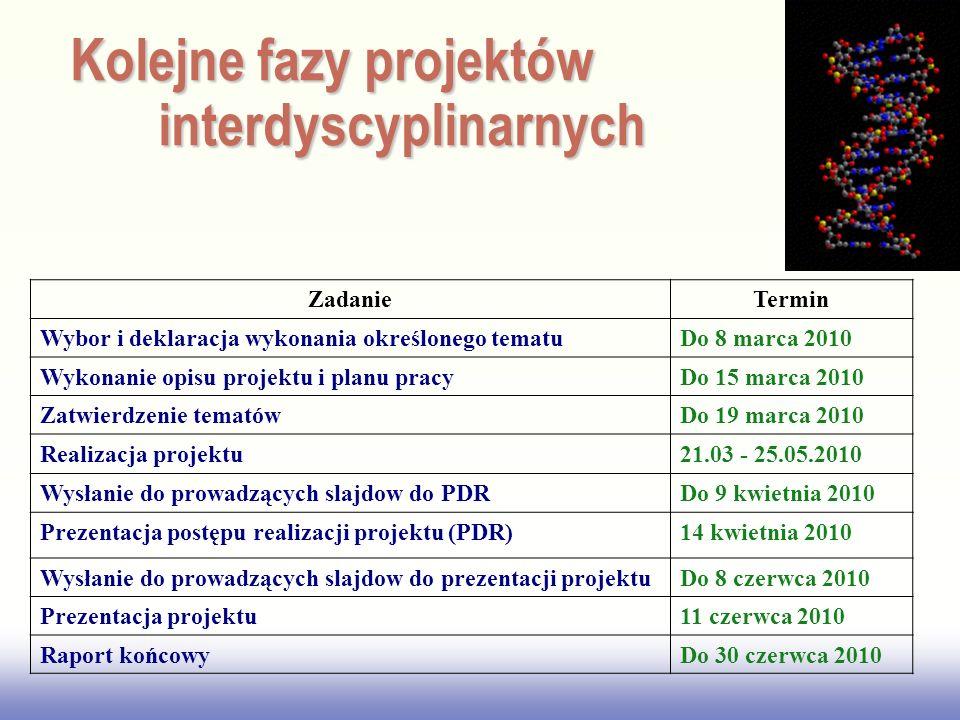 Kolejne fazy projektów interdyscyplinarnych