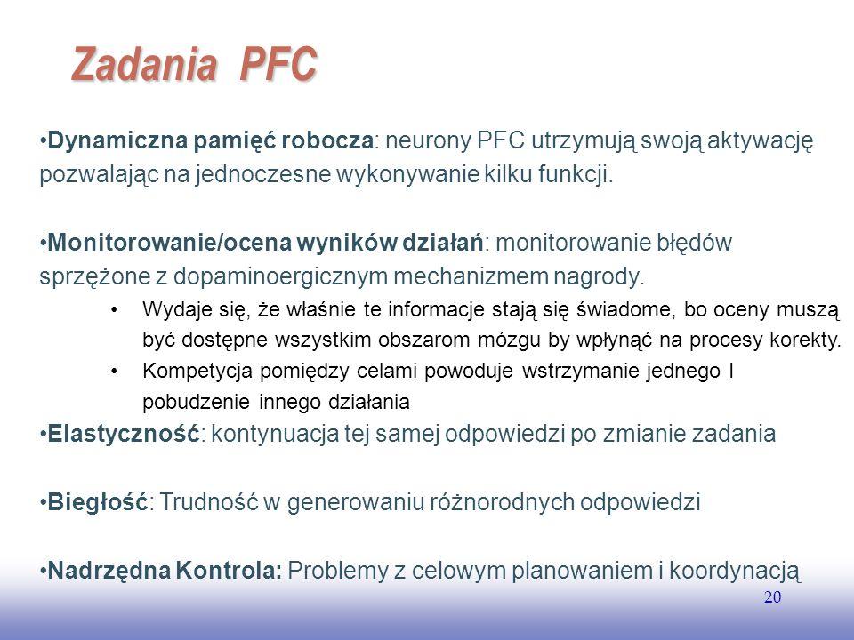 Zadania PFC Dynamiczna pamięć robocza: neurony PFC utrzymują swoją aktywację pozwalając na jednoczesne wykonywanie kilku funkcji.