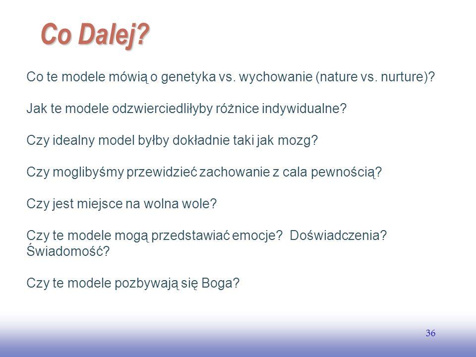 Co Dalej Co te modele mówią o genetyka vs. wychowanie (nature vs. nurture) Jak te modele odzwierciedliłyby różnice indywidualne