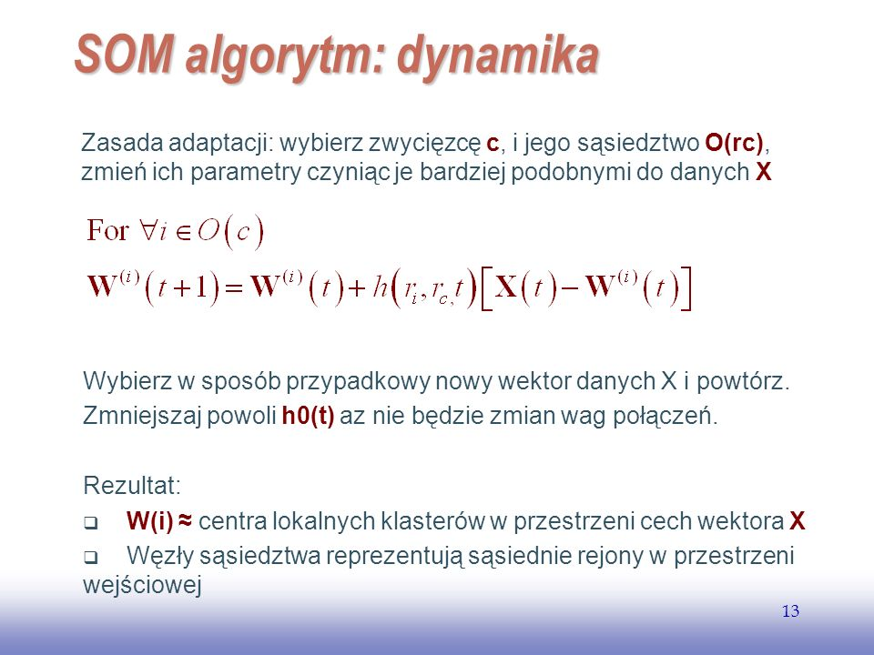SOM algorytm: dynamika