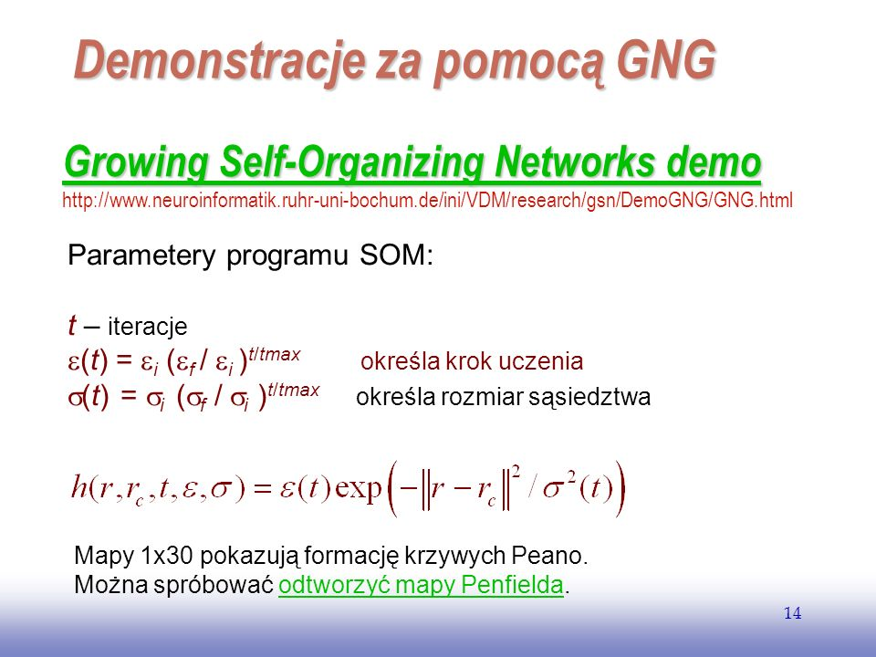 Demonstracje za pomocą GNG