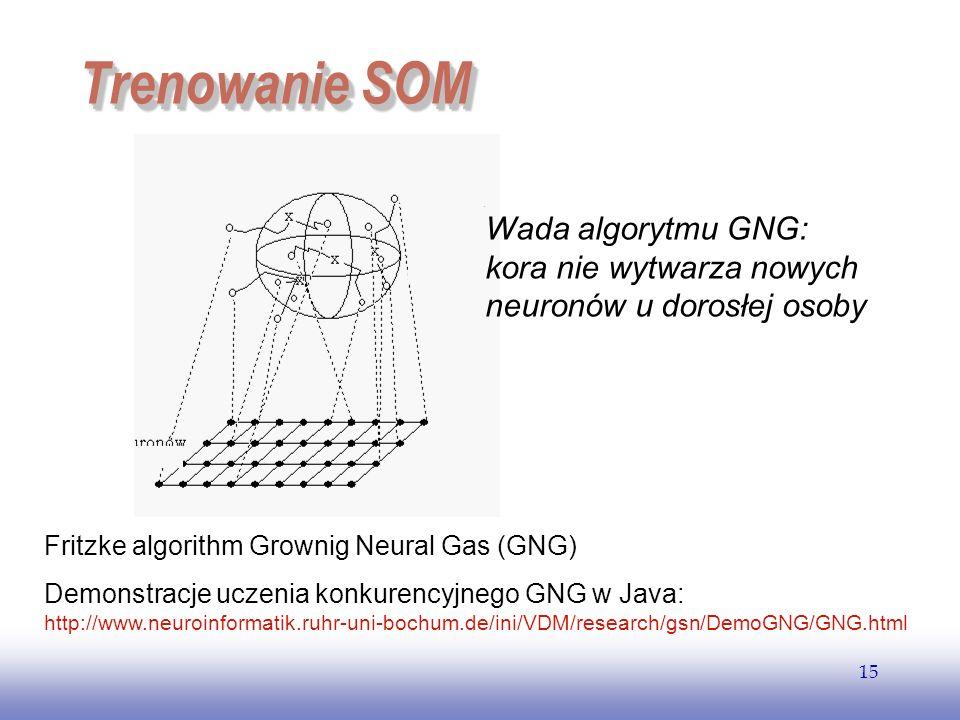Trenowanie SOM Wada algorytmu GNG:
