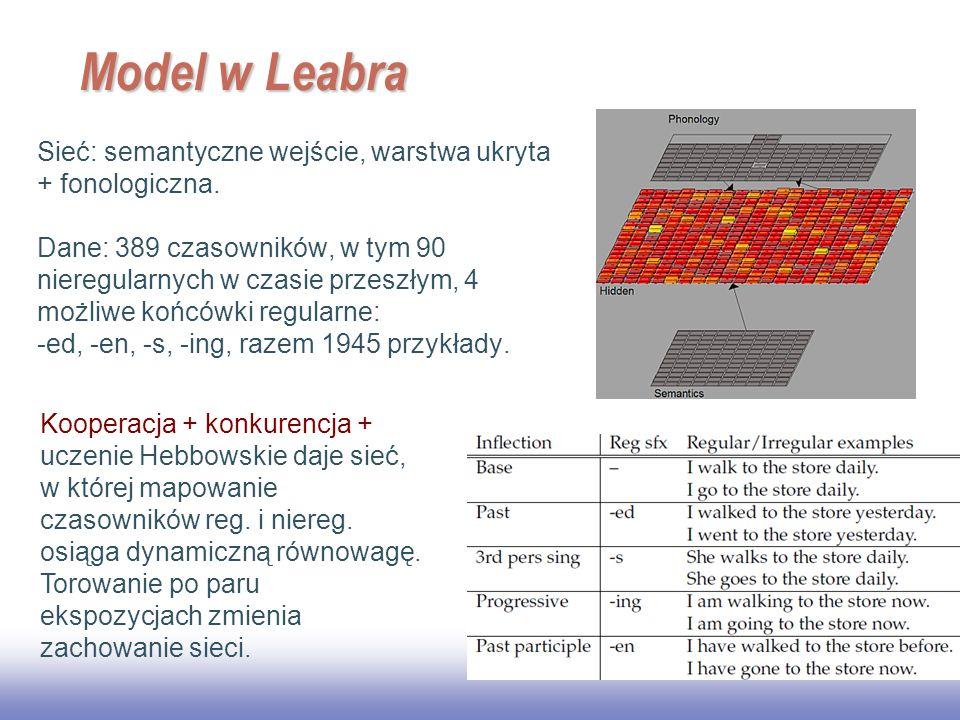 Model w Leabra Sieć: semantyczne wejście, warstwa ukryta + fonologiczna.