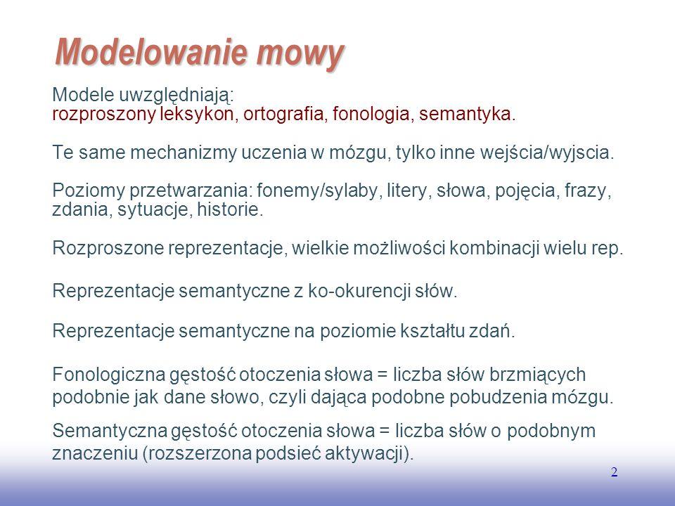 Modelowanie mowy Modele uwzględniają: