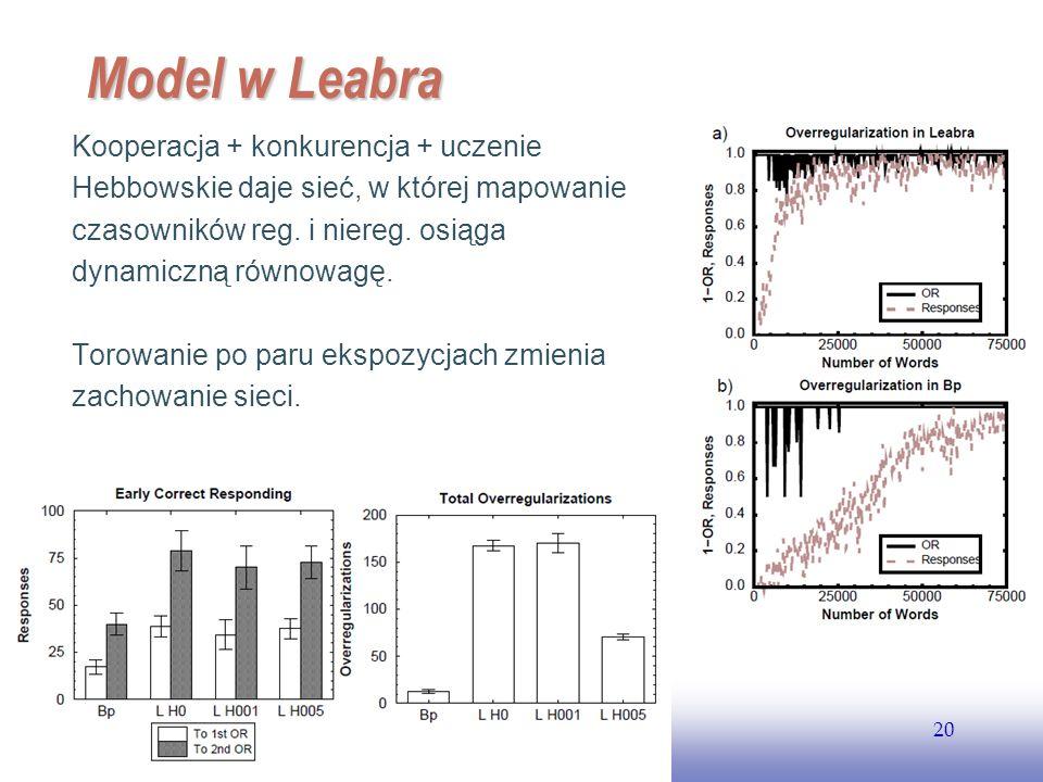 Model w Leabra Kooperacja + konkurencja + uczenie Hebbowskie daje sieć, w której mapowanie czasowników reg. i niereg. osiąga dynamiczną równowagę.