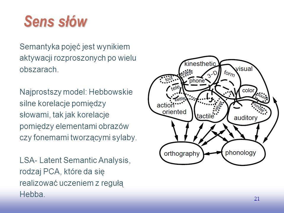 Sens słów Semantyka pojęć jest wynikiem aktywacji rozproszonych po wielu obszarach.