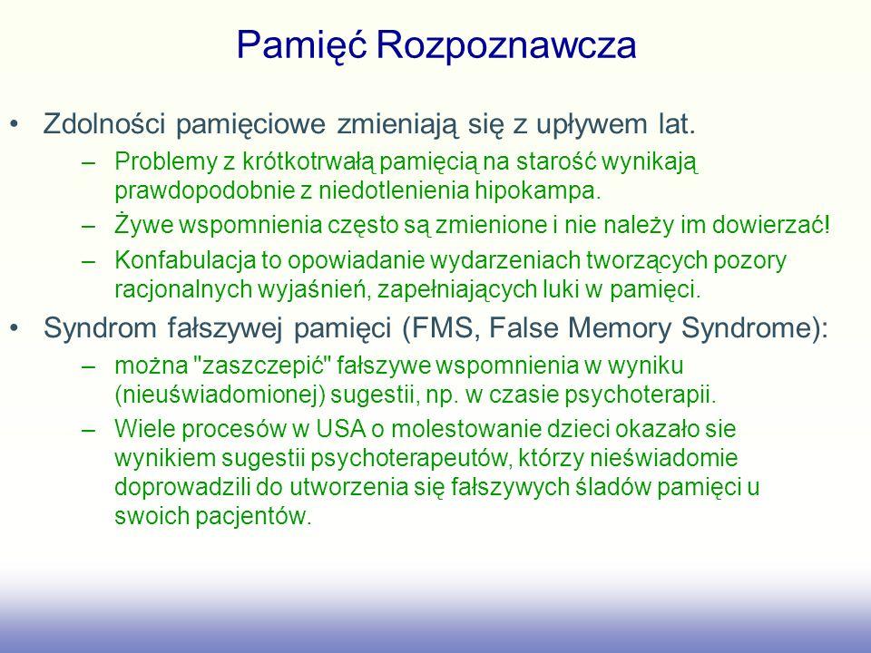 Pamięć Rozpoznawcza Zdolności pamięciowe zmieniają się z upływem lat.