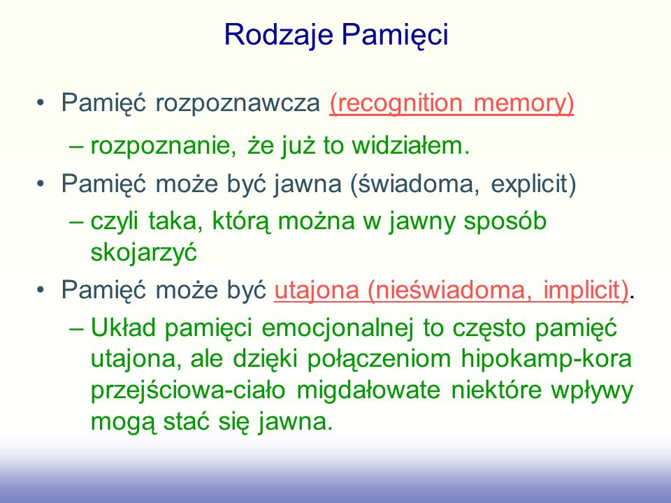 Rodzaje Pamięci Pamięć rozpoznawcza (recognition memory)