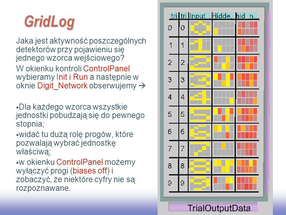 EE141 GridLog. Jaka jest aktywność poszczególnych detektorów przy pojawieniu się jednego wzorca wejściowego