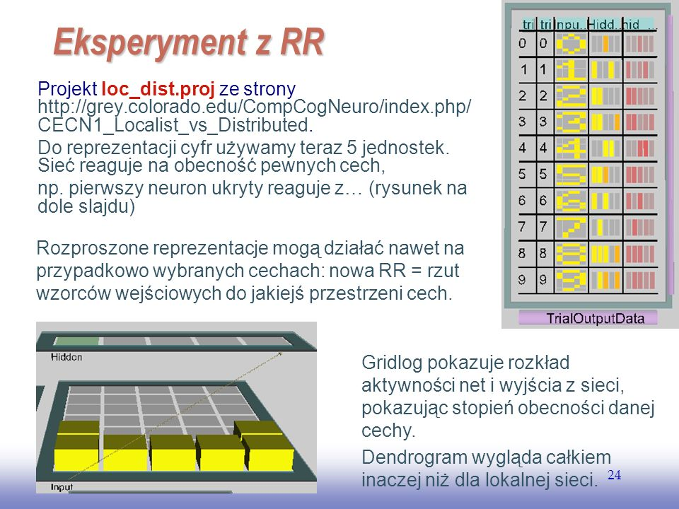 EE141 Eksperyment z RR. Projekt loc_dist.proj ze strony http://grey.colorado.edu/CompCogNeuro/index.php/CECN1_Localist_vs_Distributed.