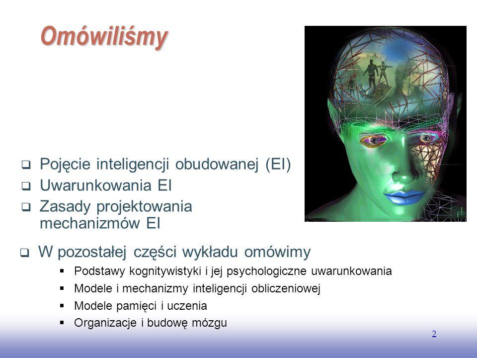 Omówiliśmy Pojęcie inteligencji obudowanej (EI) Uwarunkowania EI