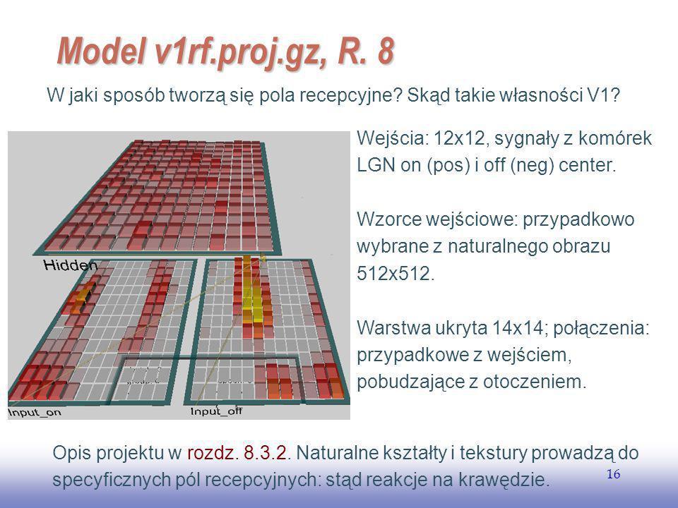 EE141 Model v1rf.proj.gz, R. 8. W jaki sposób tworzą się pola recepcyjne Skąd takie własności V1