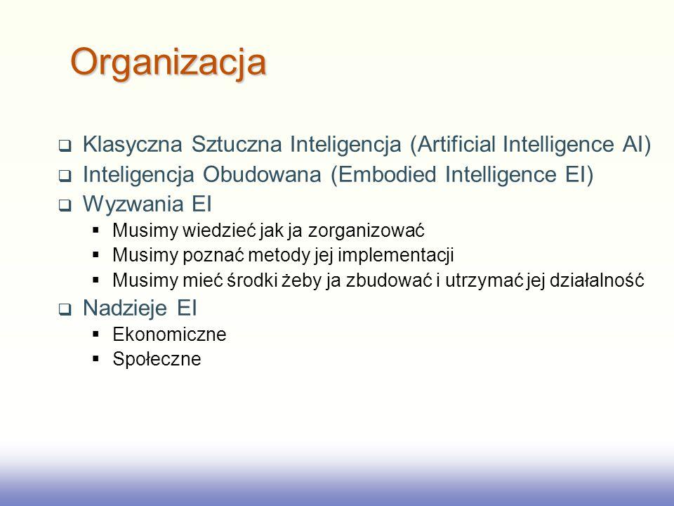 2017/3/28 Organizacja. Klasyczna Sztuczna Inteligencja (Artificial Intelligence AI) Inteligencja Obudowana (Embodied Intelligence EI)