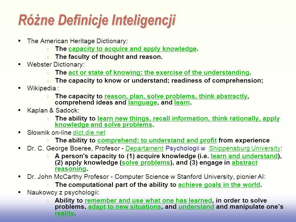 Różne Definicje Inteligencji