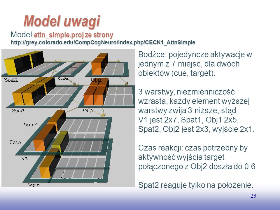 EE141 Model uwagi. Model attn_simple.proj ze strony http://grey.colorado.edu/CompCogNeuro/index.php/CECN1_AttnSimple.
