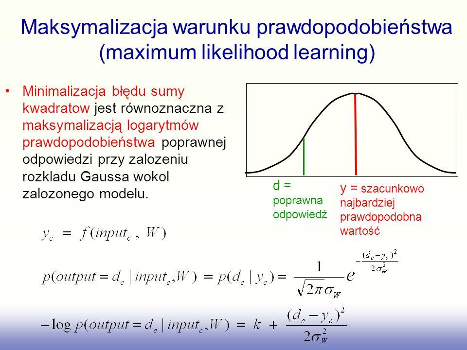 Maksymalizacja warunku prawdopodobieństwa (maximum likelihood learning)