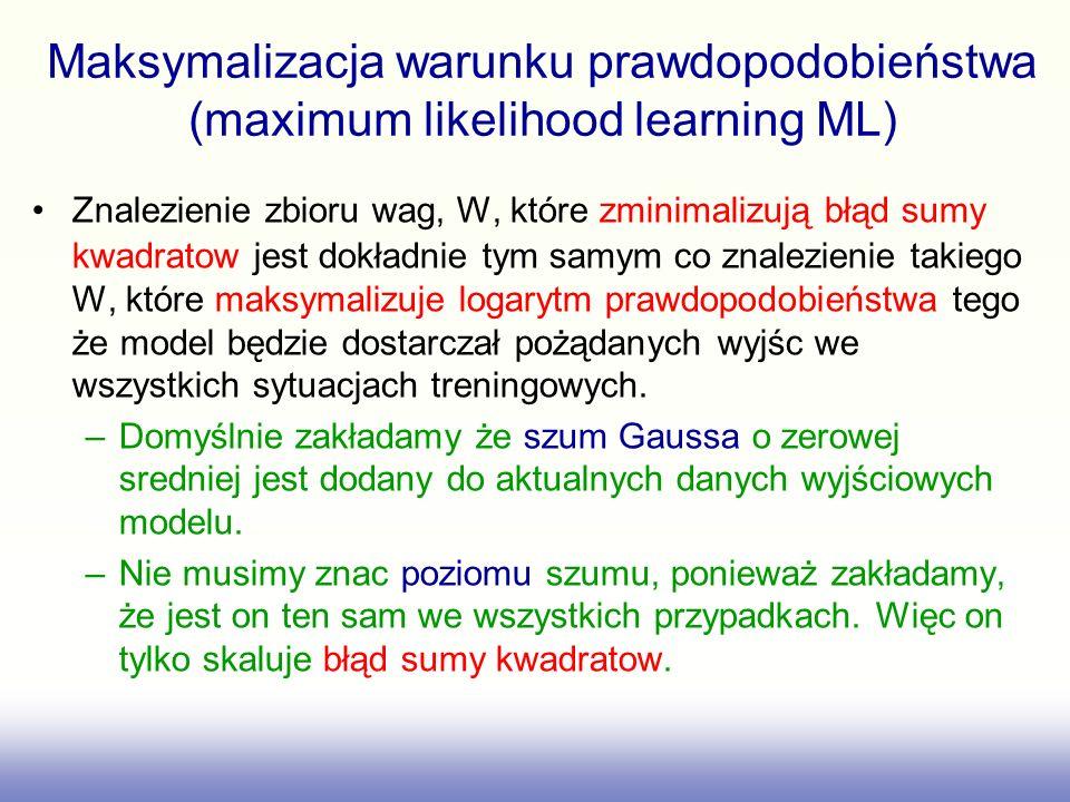Maksymalizacja warunku prawdopodobieństwa (maximum likelihood learning ML)