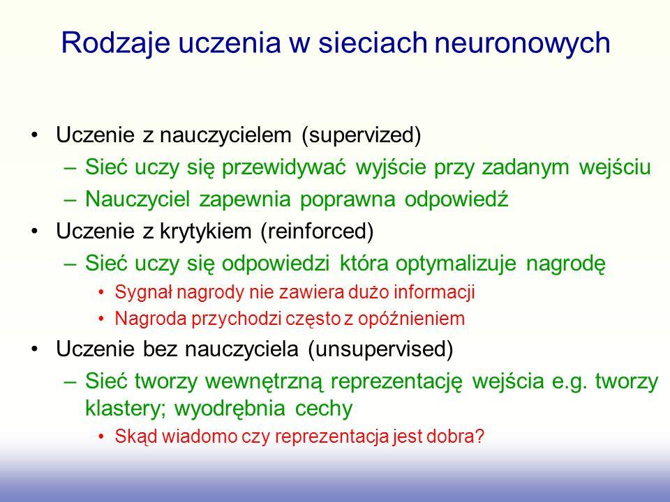 Rodzaje uczenia w sieciach neuronowych