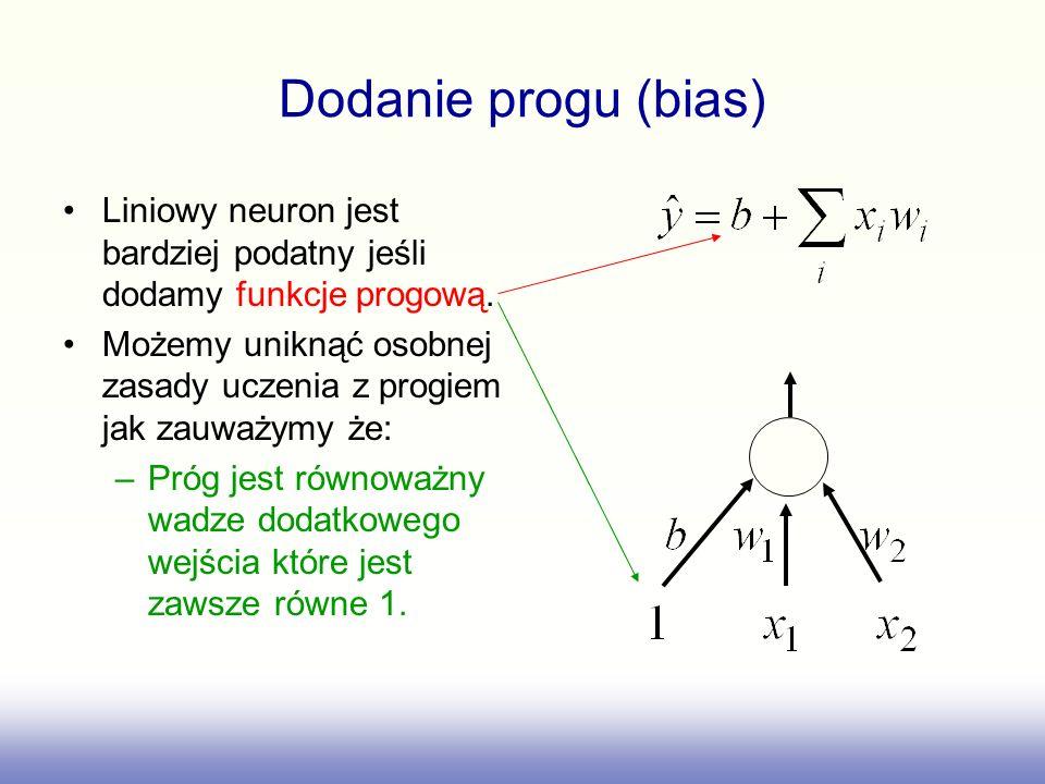 Dodanie progu (bias) Liniowy neuron jest bardziej podatny jeśli dodamy funkcje progową.