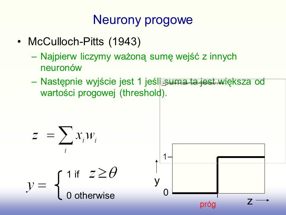 Neurony progowe McCulloch-Pitts (1943) y z
