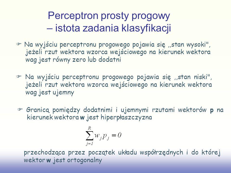 Perceptron prosty progowy – istota zadania klasyfikacji