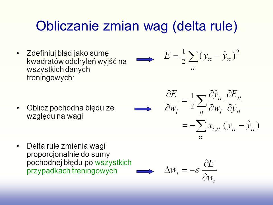 Obliczanie zmian wag (delta rule)