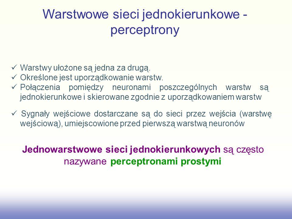 Warstwowe sieci jednokierunkowe - perceptrony