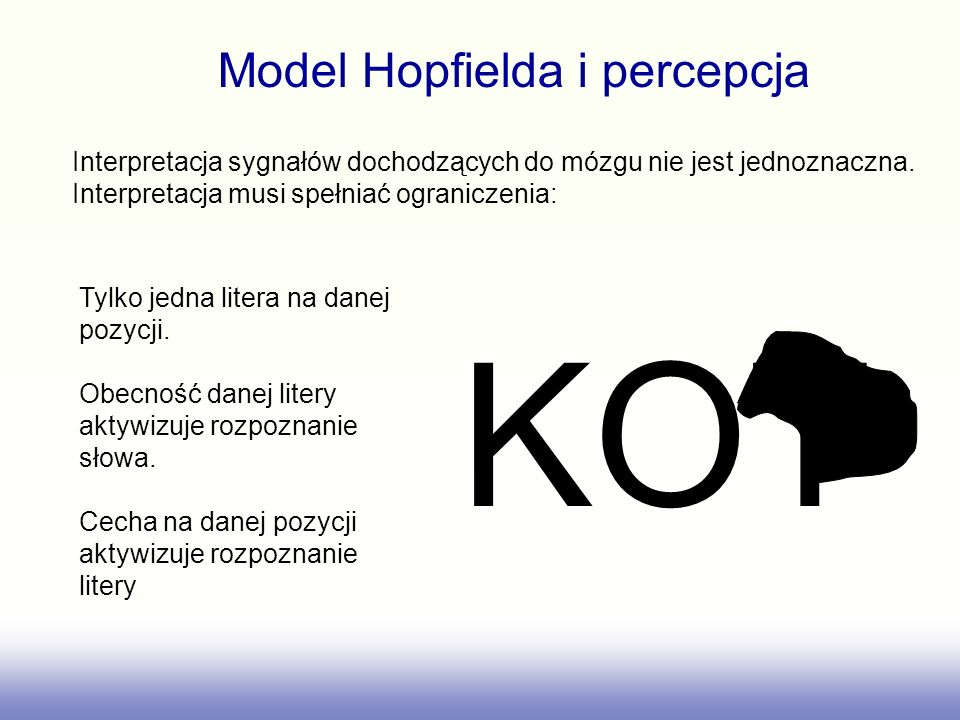 KOT Model Hopfielda i percepcja