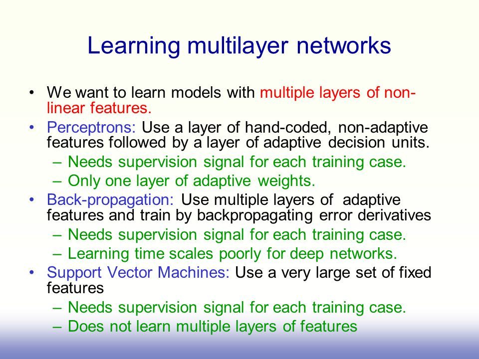 Learning multilayer networks