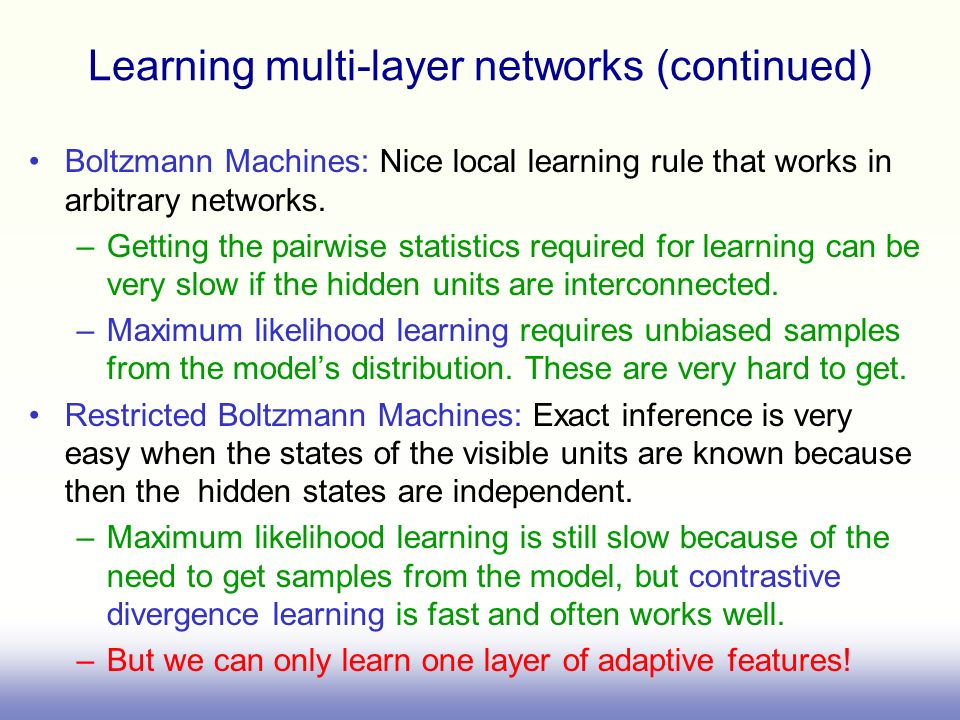 Learning multi-layer networks (continued)