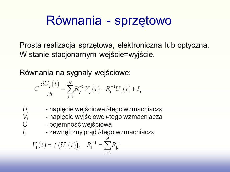 Równania - sprzętowo Prosta realizacja sprzętowa, elektroniczna lub optyczna. W stanie stacjonarnym wejście=wyjście.