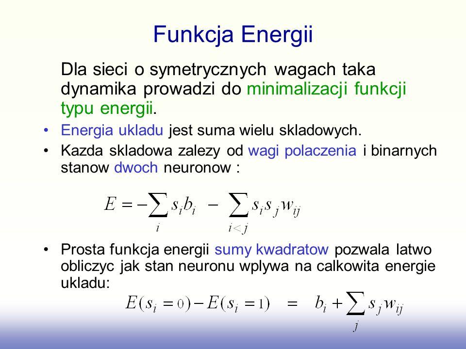 Funkcja Energii Dla sieci o symetrycznych wagach taka dynamika prowadzi do minimalizacji funkcji typu energii.