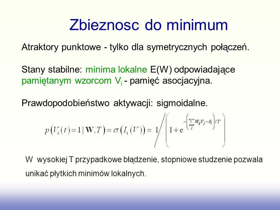 Zbieznosc do minimumAtraktory punktowe - tylko dla symetrycznych połączeń. Stany stabilne: minima lokalne E(W) odpowiadające.
