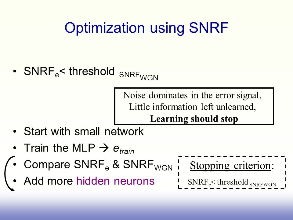 Optimization using SNRF