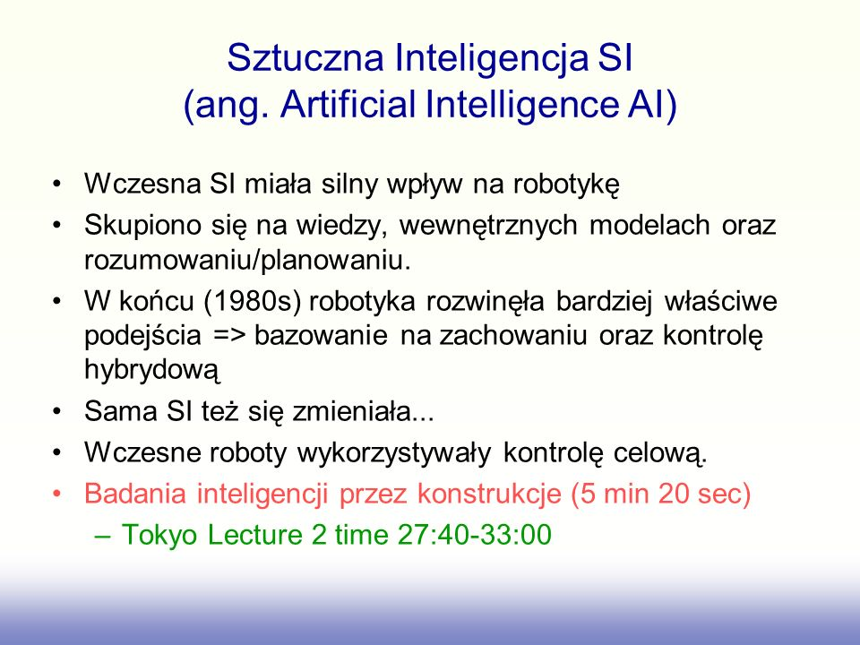 Sztuczna Inteligencja SI (ang. Artificial Intelligence AI)