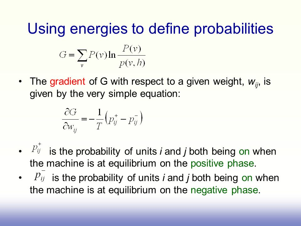 Using energies to define probabilities