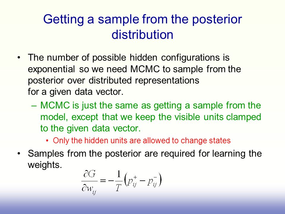 Getting a sample from the posterior distribution