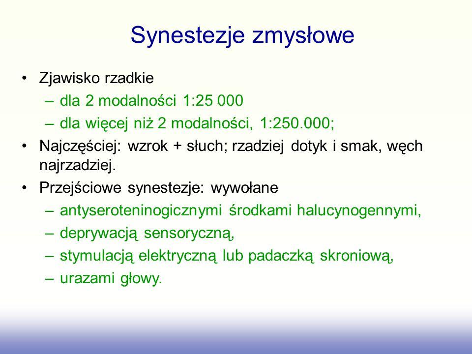 Synestezje zmysłowe Zjawisko rzadkie dla 2 modalności 1:25 000