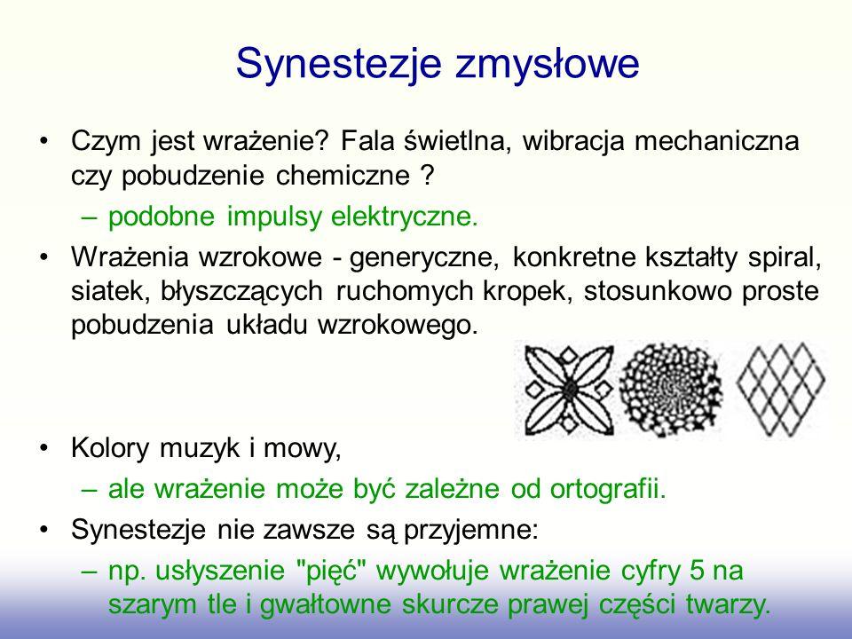 Synestezje zmysłowe Czym jest wrażenie Fala świetlna, wibracja mechaniczna czy pobudzenie chemiczne