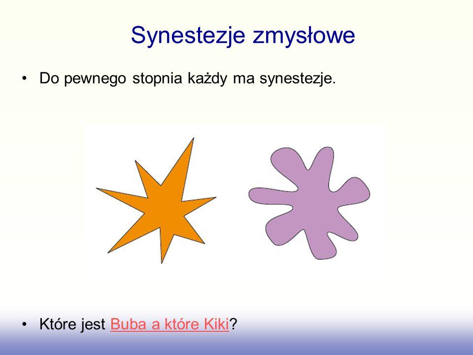 Synestezje zmysłowe Do pewnego stopnia każdy ma synestezje.