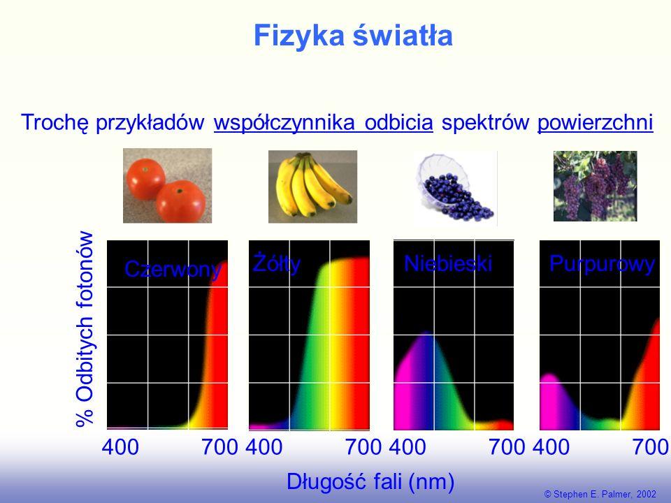Fizyka światła Trochę przykładów współczynnika odbicia spektrów powierzchni. Czerwony. 400 700.